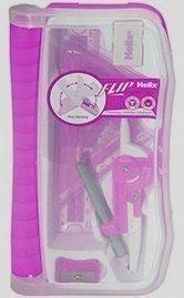 1 x Pink Helix Flip Maths Geometry Set & Case, Ruler, Protractor, Compass