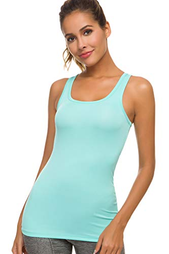 Workout Tank Tops for Women- Ribbed Yoga Tank Top Racerback Long Tight Fit Shirt Gym Run Activewear Clothes Mint Green - Cat Top Knit