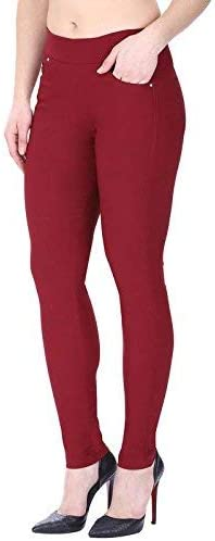 c0ddc91256c MUKHAKSH Women Girls Ladies Hot Latest Stretchable (ATC) Maroon Jeggings  Lower. Loading images... Back. Double-tap to zoom