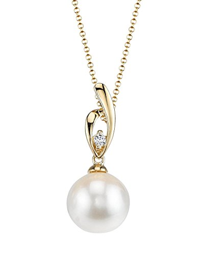 THE PEARL SOURCE 14K Gold 8-8.5mm AAA Quality Round White Akoya Cultured Pearl & Diamond Lois Pendant Necklace for Women (14k Yg Frame)