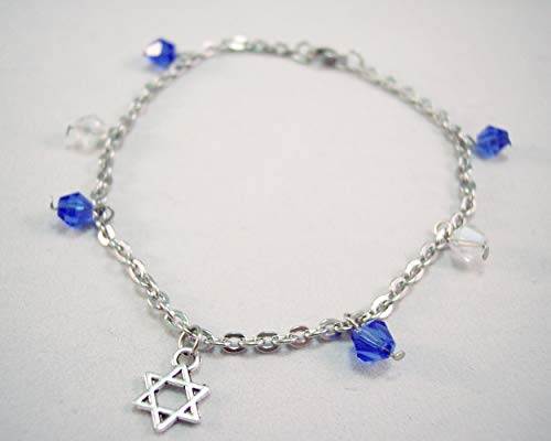 Star of David Stainless Steel and Crystal Charm Chunky Anklet Blue and White