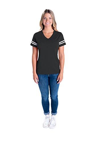 LAT Apparel Ladies Football Jersey V-Neck Tee [Medium] Vintage Smoke / White Short SleeveT-Shirt