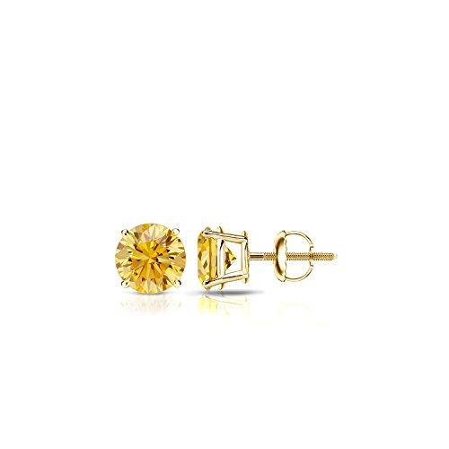 14k Yellow Gold Round Yellow Diamond 4-Prong Basket Stud Earrings (0.40 ct, Yellow, I1-I2)