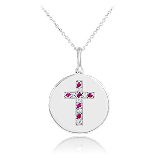 14k White Gold Cross Diamond and Ruby Disc Pendant Necklace (16 Inches)