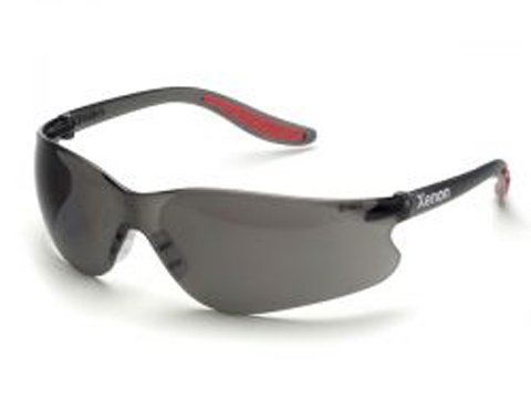 - Elvex Xenon Anti-Fog Hard Coated Polycarbonate Lens with Black Temple & Red Tips, Gray