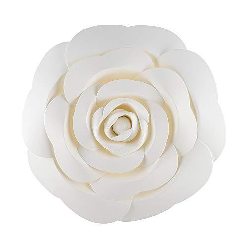 (Quasimoon PaperLanternStore.com 12-Inch Garden Rose White Paper Flower Backdrop Wall Decor, 3D Premade)