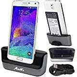 - Galaxy Note 4 Charger, Galaxy Note 4 Battery Charging Dock, AnoKe USB 3.0 9pin Dual Sync Desktop Dock Charger Cradle Holder Pad for Samsung Galaxy note 4 - Support Charging Spare Battery DOCK