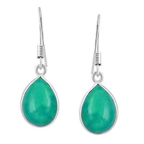 Turquoise Tear Drop Dangle Earrings 925 Silver Plated Handmade Jewelry For Women Girls