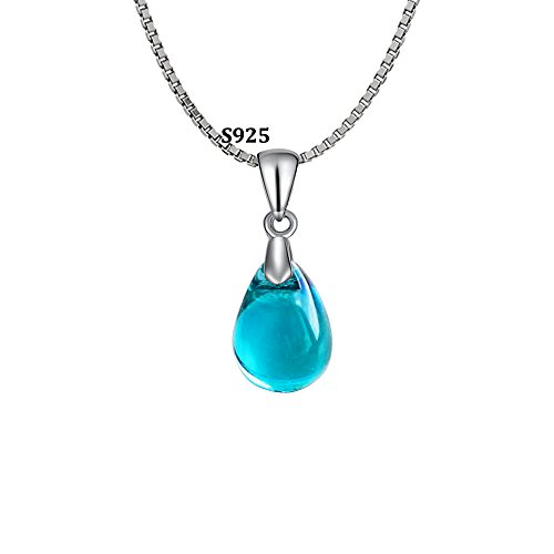 OCARLY 925 Mermaid's Tears Droplet Necklace Gradient Color Czech Crystal Glass Teardrops Pendant ()