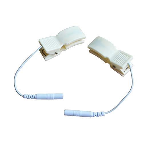 2pcs Breast & Ear Clip Electrode Lead Wires 2mm Pin Snap Connection for Tens EMS (Ear Clips Tens)