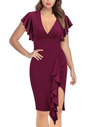 (Knitee Women's Deep-V Neck Ruffle Sleeves Cocktail Party Pencil Dress,Medium,Wine)