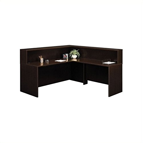 Bush Furniture Mocha Cherry Corsa Series L-Shaped Reception - Desk L-shaped Corsa Cherry