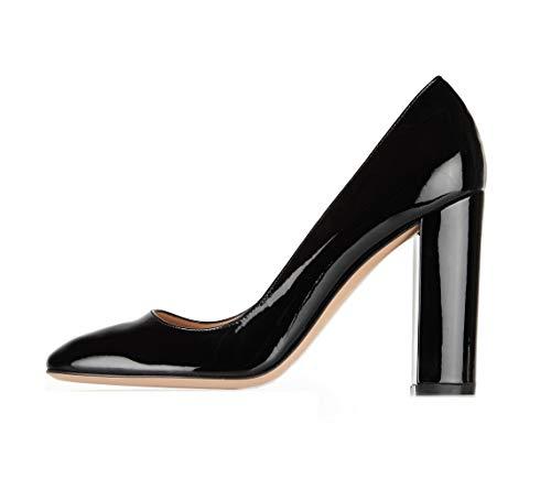- Sammitop Women's Round Toe Patent High Block Heel Pumps Chunky Heels Office Dress Shoes Black US7.5