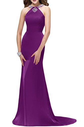 Damen Lang Exquisite Satin Violett Festkleid Promkleid Abendkleid Steine Ivydressing Schleppe 1xwdFnq1Y