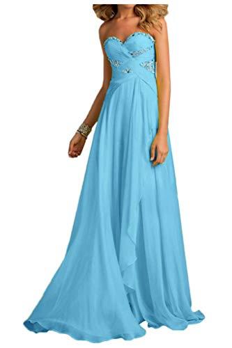 Abschlussballkleider Pfirsisch Linie mia La Chiffon Blau Braut lang Brautjungfernkleider Festlich Herzausschnitt Abendkleider A H0wwqt