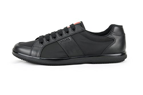 Prada Heren Nylon Met Pluim Kalfsleer Trainer Sneaker, Zwart (nero) 4e2845