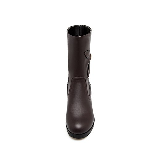 Heel Closed Urethane Boots Lining Kitten MNS02434 Womens Rubber Pointed Toe Closure 1TO9 Warm Boots Brown Toe No Waterproof Bootie E0cqZz