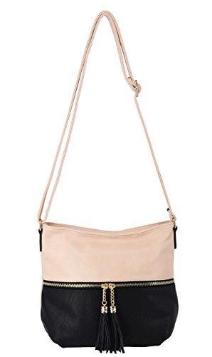 CRAZYCHIC - Bolso Bandolera para Mujer - Bolso de Hombro con Bolsillo Delantero - Bolso de Mensajero con Borlas - Cuero sintético PU Suave - Bolso de Mano Moda - City Bag Práctica - Nude Rosa Nude Rosa