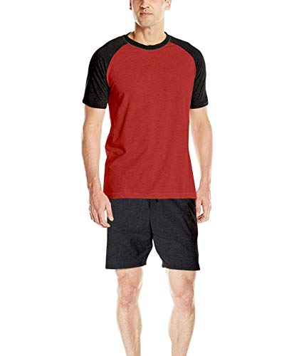 Hanes Men's Adult X-Temp Short Sleeve Cotton Raglan Shirt and Pants Pajamas Pjs Sleepwear Lounge Set - Chili Pepper (X-Large)
