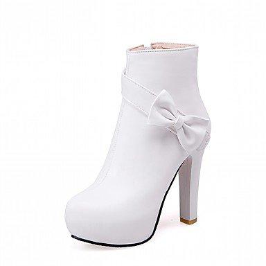 Redonda Botines De Mujer CN33 Invierno Talón 5 RTRY Zapatos Botines Fiesta 4 Moda Piel 5 EU34 Sintética Chunky Novedad 2 De US4 Otoño Botas Botas De Pu Bowknot Puntera Confort UK2 RUxwATqx