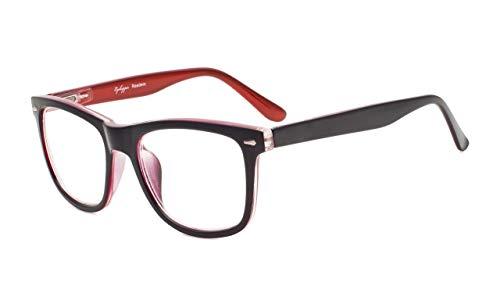 Eyekepper Readers Square Large Lenses Spring-Hinges Reading Glasses Men Women Black-Red ()
