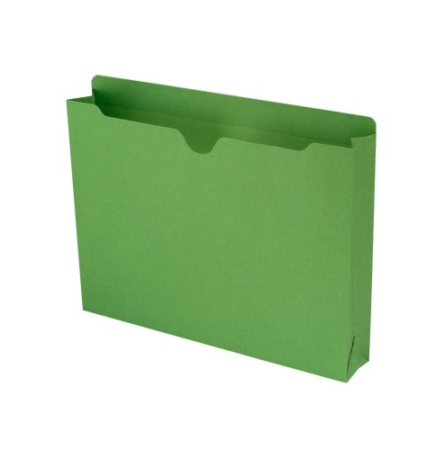 "Smead File Jacket, Reinforced Straight-Cut Tab, 2"" Expansion, Letter Size, Green, 50 per Box (75563)"