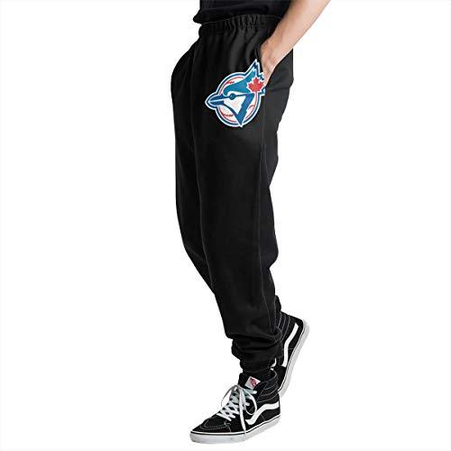 Toronto Bl-ue JaysPlatinum Logo Men's Casual Jogger Sweatpants Sports Trousers Pant Elastic Waist 3XL ()