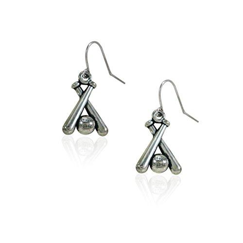 - fidaShop New Stainless Steel Baseball and Baseball Bat Accessories Jewelry Dangle Earrings