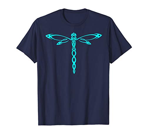 Mens Dasher Blue Tribal Dragonfly Totem T-shirt Small Navy
