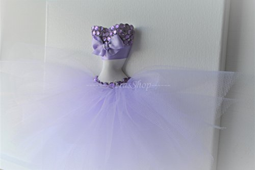 (Lavender tutu nursery wall art. 10x10 princess canvas. Girls room wall hanging.)