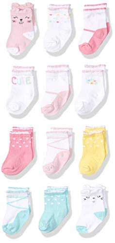 Onesies Brand Baby Girls' 12-Pair Crew Sock, cats, 0-6 Months
