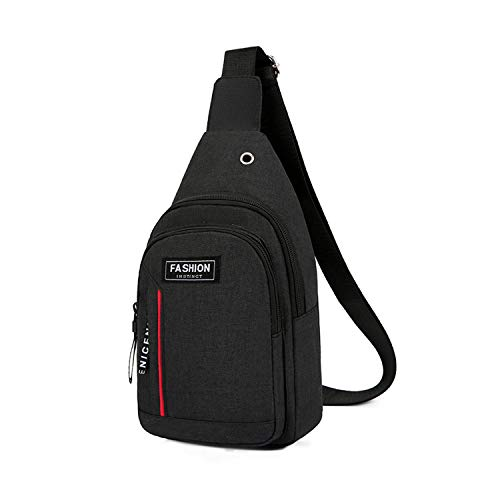 (Casual Backpacks,Perkisboby Sling Bag One Shoulder Strap Crossbody Canvas Sports Chest Backpack with Earphone Hole Black )