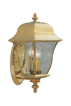 Polished Brass PVD finish 3 Light 10in. Wall Lantern Solid Brass PVD from the Gladiator Collection