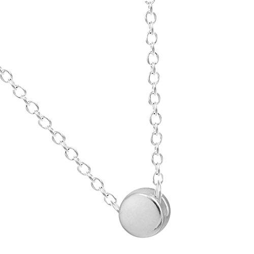 Circles Slip (chengxun 925 Sterling Silver Tiny Button Slip Surface Circle Pendant Necklace)