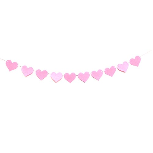 Fulol Paper Heart Garlands Heart Hanging Banner Bunting Flags DIY Decoration for Wedding Party Birthday Bridal Shower Baby Shower Decorations - Pink ()