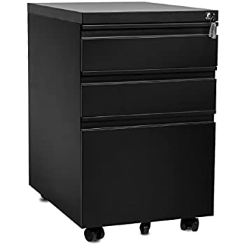 Merax 3 Drawer Mobile File Cabinet With Keys, Fully Assembled Except  Casters (Black
