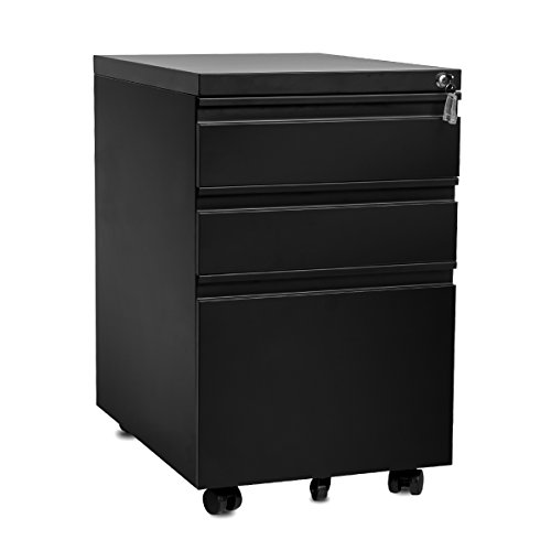 Merax 3-Drawer Mobile File Cabinet with Keys, Fully Assembled Except Casters (Black) (Dimensions Cabinet File Lateral)