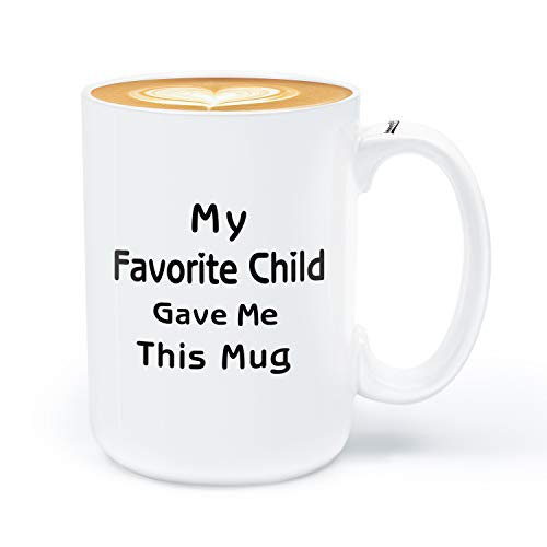 Coffee Mug for Mom Dad, Birthday Gifts for Mom Dad from Daughter Son, My Favorite Child Gave Me This Mug, 15OZ Funny Coffee Mug