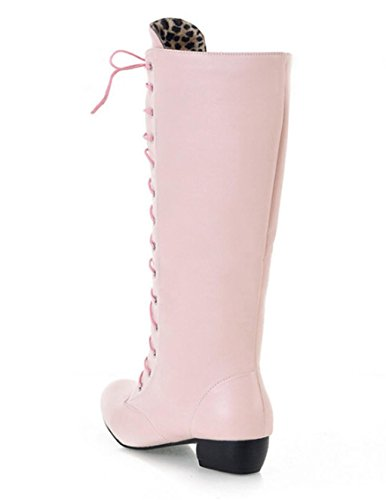 MNII Womens Straps Block Heel Stretch Lange über die Knie Riding Wide Fit High Stiefel- Mode Schuhe Pink