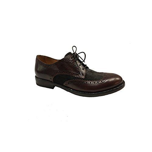 599124c9f61 SEBOY S Zapatos de Hombre abrochada 100% Piel Caoba e Ante marrón Oscuro  Made IN Italy