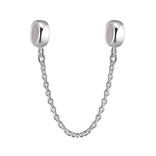 (Hoobeads 925 Sterling Silver Stopper Safety Chain Bead Charm For European Charm Bracelets)
