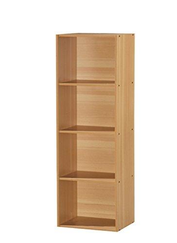 Hodedah 4 Shelve Bookcase, Beech by HODEDAH IMPORT