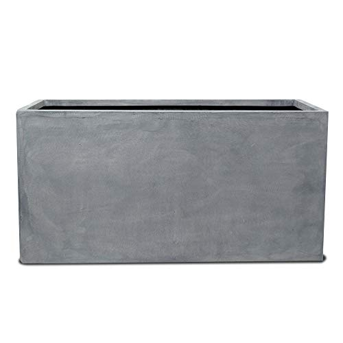 Vase Source Large Fiberglass Gray Rectangular Planter - Elegant Sleek Flower Pot 24