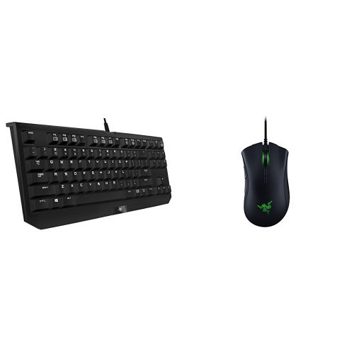 Razer BlackWidow Tournament Edition Stealth - Essential Mechanical Gaming Keyboard - Tactile & Silent Razer Orange Switches + Deathadder Elite Gaming Mouse - Edition 3 Sims Standard