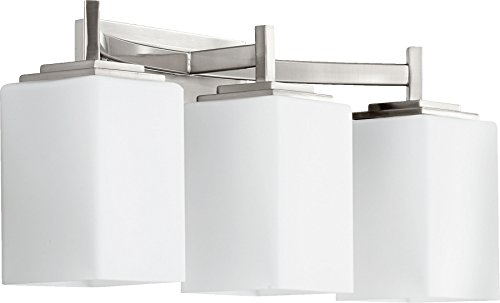 Quorum International 5084-3-65 Vanity Lights with Satin Opal Shades, Nickel