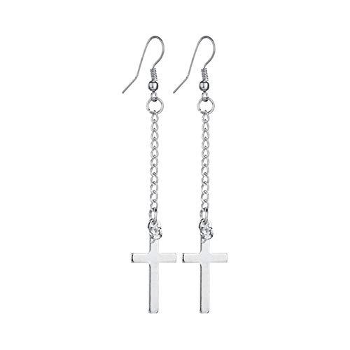 Plated Two-tone Cubic Zirconia Jesus Christ Cross Charm Long Tassel Dangle Earrings ()