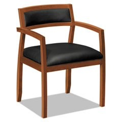 BASYX VL852HSB11 VL850 Series Wood Guest Chairs with Black Leather Seat/Back Bourbon Cherry
