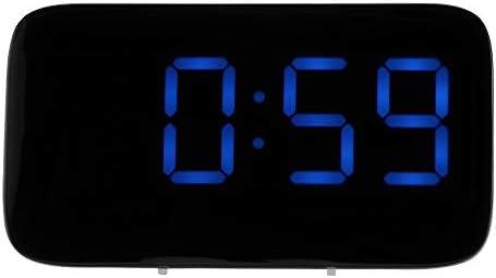 OurLeeme Gran Pantalla LED Reloj Despertador Digital con repetición, Control de Voz Mesita de Noche Reloj con Pilas Carga por USB (Azul)