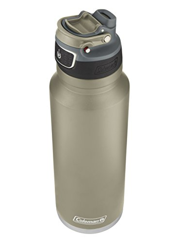 Coleman FreeFlow AUTOSEAL Insulated Stainless Steel Water Bottle, Sandstone, 40 ()