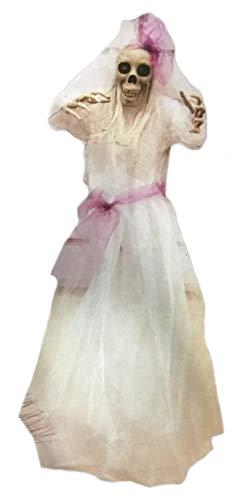 - Yikes in the Yard 3 Foot Hanging Bride Reaper Skeleton Light Up Flashing Halloween Prop